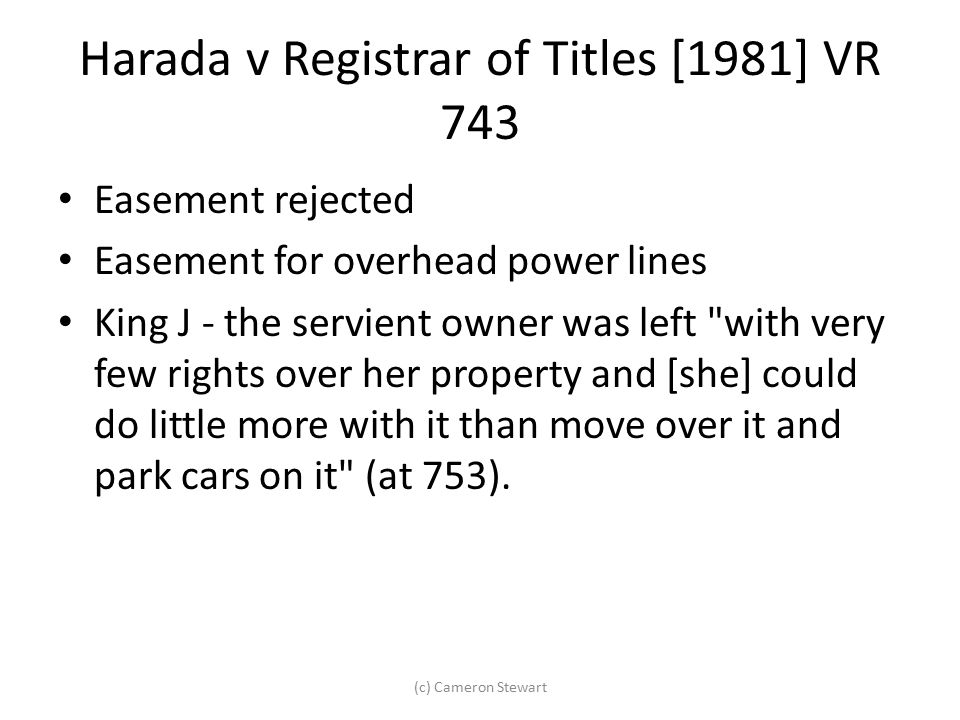 Harada v Registrar of Titles [1981] VR 743